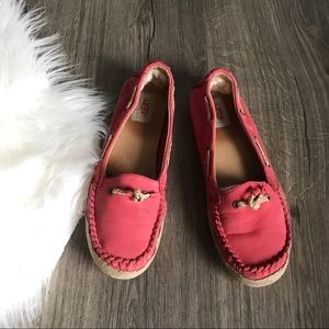 UGG 'Chivon' pink coral leather moccasin flats 8.5